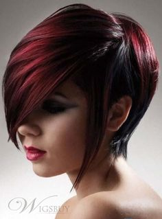 Best Selling Medium Straight Mixed Color Newest Fashion Natural Top Quality Wig 100% Human Hair. Black and red hair.
