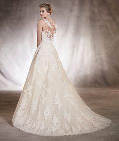 Angelica - Vestido de novia con detalles florales de encaje y tul