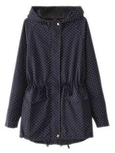 Shop Blue Polka Dot Parka Coat from choies.com .Free shipping Worldwide.$39.9