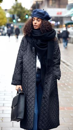 Quilted coat by Rodebjer, beret and oversized wool scarf. All available at www.grandpastore.com.
