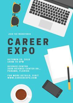 Blue Career Laptop Illustration School Poster
