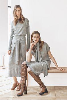 Scarf Neck Ovoid Dress Soft Grey at Country Road Fall Fashion 2016, Winter Fashion, Street Fashion Shoot, Plus Size Posing, Sister Poses, Studio Poses, Fashion Photography Inspiration, Fashion Poses, Knit Skirt