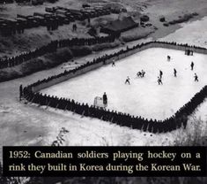 Canadian soldiers playing hockey on a rink they built in Korea during the Korean War. Canadian Memes, Canadian Things, Canadian History, Canadian Humour, American History, Canada Funny, Canada Eh, Meanwhile In Canada, Canadian Soldiers