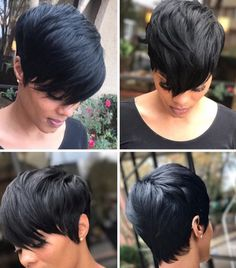 Sweet and Sexy Pixie Hairstyles for Women Short-Pixie-Black-Hairstyle Coiffures Pixie douces et sexy Short Black Hairstyles, Pixie Hairstyles, Short Hair Cuts, Short Quick Weave Hairstyles, Black Pixie Haircut, Braided Hairstyles, 27 Piece Hairstyles, Edgy Haircuts, Female Hairstyles