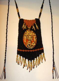 """Hieroglyph"" - 2011 - Adjustable length, unique pendant centerpiece, SOLD.  Woven by Terri Scache Harris, theravenscache.shutterfly.com   Hand woven, handwoven, weaving, weave, needleweaving, pin weaving, woven necklace, fashion necklace, wearable art,  fiber art."