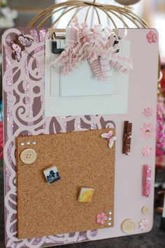 Altered clipboard message center with corkboard and pegs