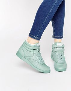 b4d1bfd7c5c Reebok Freestyle Hi Spirit Mint Green Sneakers Green Trainers