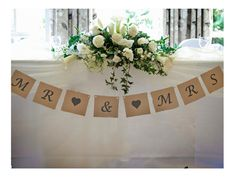 Mr & Mrs Wedding Bunting Brown Vintage by FancyPantsStoreLtd