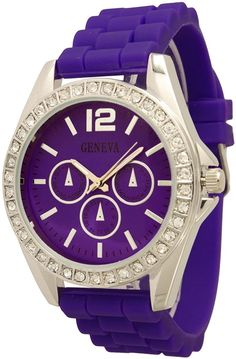 Women's Geneva Rhinestone-accented Chronograph Style Silicone Watch - Purple/Silver * Check out this great image