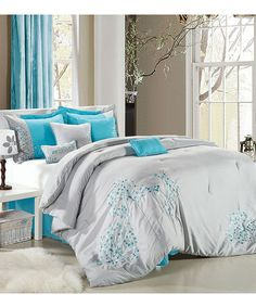 Gray & Turquoise Floral Embroidered Comforter Set | zulily