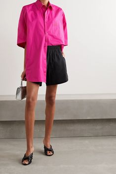 Bright pink Oversized embroidered cotton-poplin shirt | Balenciaga | NET-A-PORTER Oversized Shirt Outfit, Selfies, Balenciaga Clothing, Oufits Casual, Loose Fit Jeans, Ribbed Sweater, Couture, Poplin, Lounge Wear