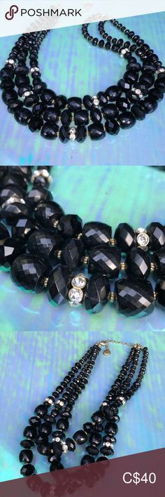 Jones New York Black Beaded 3 Strand Fireball This like new Jones New York Black Beaded Fireball 3 strand necklace is a beautiful piece. Approximately long with a extender. Jones New York Jewelry Necklaces Strand Necklace, Black Gold, Jewelry Necklaces, Women Jewelry, Shop My, New York, Closet, Beautiful, Things To Sell
