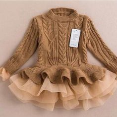 Online Cheap 2015 Autumn Winter Girls Knit Sweater Dresses Baby Girl Tulle Lace Tutu Winter Jumper Pullover Dress Princess Children Girls' Sweaters By Onlinetopshop Dhgate. Kids Outfits Girls, Baby Outfits, Girls Dresses, Kids Girls, Baby Girls, Baby Boy, Infant Baby Girl Clothes, Tutu Outfits, Toddler Girls