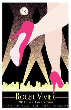 Poster by Sara Reid applying the Art Deco style to an advertisement for Holt Renfrew