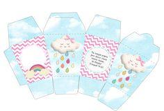 Passatempo da Ana: Micro Kit - Chuva de Bençãos Baby Shower Fall, Fall Baby, Baby Shower Parties, Pillow Box Template, Rainbow Background, Love Rain, Diy Gift Box, Party Decoration, Party Banners