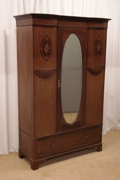 Edwardian Walnut Mirrored Wardrobe | Sutton Antieks