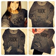 """Buy a large mens sweatshirt and cut off the neck, wrist and bottom bands. leave raw. monogram with Elegant font 5"""" in center, 4"""" on sides. adorable!!"""