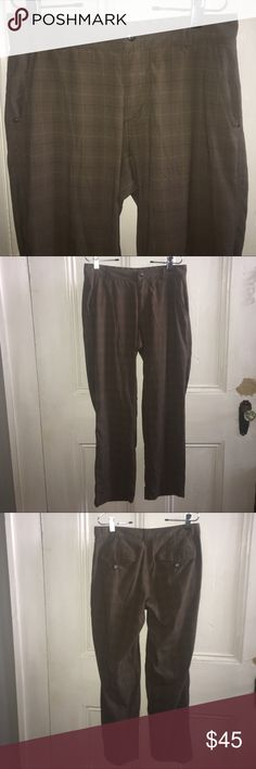 """LULULEMON Brown Plaid Pants 32"""" waist, 31"""" long, 9"""" rise. Beige brown color with darker brown Plaid lines. They've been worn often but have been kept in pristine condition. No pilling anywhere, just light signs of wear in the crotch. Excellent Condition lululemon athletica Pants"""