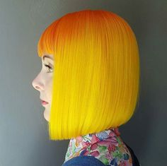 Neon Citrus Bob ... by #BTCONESHOT2016 Hair Awards Finalist @jaymz.marsters #behindthechair