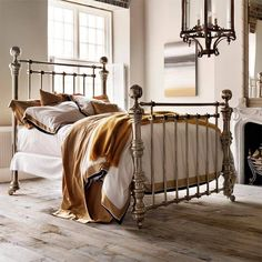 Dickens, a classic Victorian bed but on a grand scale. Crafted from pure brass, with a polished nickel finish for a modern look. Dream Bedroom, Master Bedroom, Bedroom Furniture, Bedroom Decor, Deco Furniture, Modern Furniture, Furniture Design, Victorian Bed, Wrought Iron Beds