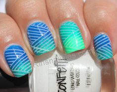 China Glaze Neon Gradient with Konad stamping