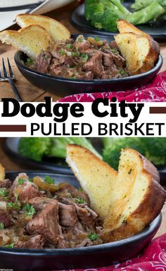 Our Dodge City Pulled Brisket gets its name from Dodge City in Kansas, which is home to the saloon that was featured in the long-running TV series, Gunsmoke. It's a brisket that's slow-cooked with lots of onions and beef broth until it's tender. Pulled Brisket, Slow Cooked Brisket, Dinner Menu, Dinner Ideas, Slow Cooker Recipes, Beef Recipes, Dodge City, Onion Soup, Beef Dishes