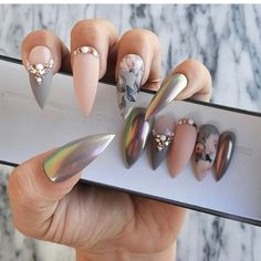 Luxury Press On Nails by Nailed By Cristy Glam Nails, Bling Nails, Matte Nails, Stiletto Nails, Fun Nails, Chrome Nails, Glue On Nails, Perfect Nails, Gorgeous Nails
