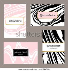 Creative modern business cards, invitations set with abstract marble texture. Vector design concept. For stylist, makeup artist, photographer. Stylish elegant business cards template. Vector. - stock vector