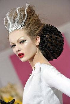 Christian Dior Runway Hair and Makeup Looks - couture version of Bride of Frankenstein?