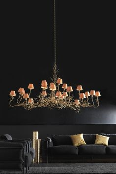 Living Room - Sexy in black with the glow of glimmering lights. (re-pinned photo - Barovier & Toso)
