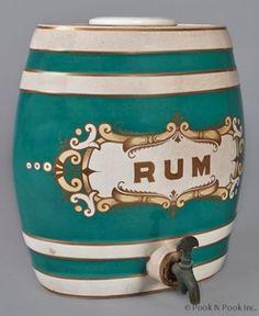 Dispenser; Rum, Barrel Form, Turquoise & White Bands, Gilt, Pewter Spigot, 13 inch.