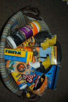 Car care products - pair with a gas card or detailing package for a great basket