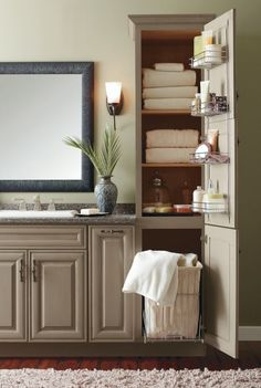 Bathroom Linen Cabinet With Hamper For Small Bathroom For second bath? Change sink, add in linen cabinet. Bathroom Linen Tower, Bathroom Linen Cabinet, Laundry In Bathroom, Bathroom Closet, Bathroom Vanities, Linen Cabinets, Tall Bathroom Cabinets, Shower Cabinets, Narrow Bathroom