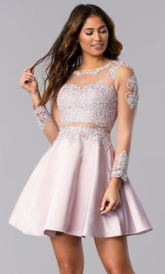 Image of short bracelet-sleeve homecoming dress by PromGirl. Style: Front Image Source by sophierobertssss dresses for teens Hoco Dresses, Dance Dresses, Homecoming Dresses, Sexy Dresses, Cute Dresses, Evening Dresses, Casual Dresses, Summer Dresses, Wedding Dresses