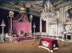 A view of the Throne Room at Versailles Palace. There were over 700 rooms housing up to 20,000 nobleman before King Louis 16th was overthrown.