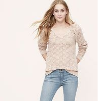 Scallop Neck Sweater - Intricate open stitching gives this cotton piece its linear cool. Add a cami beneath for more coverage. Scalloped V-neck. Long sleeves. Ribbed cuffs and hem....Like this in red