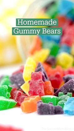 Homemade Gummy Bears, Homemade Gummies, Homemade Candies, Candy Recipes, Sweet Recipes, Dessert Recipes, Jello Gummy Bears, Home Made Candy, How To Make Homemade