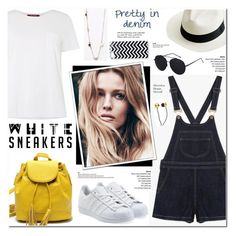 """White Sneakers - Denim Overall"" by anyasdesigns ❤ liked on Polyvore featuring MaxMara, adidas Originals, CUL-DE-SAC, J.Crew and Tiffany & Co."