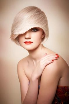 Short avant garde bob hairstyle with layered fringe