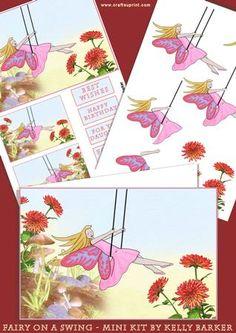 Beautiful Fairy On A Swing decoupage mini kit :o) card making