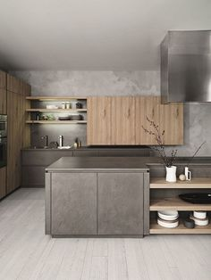 Modern Kitchen 45 Elegant Contemporary High-End Natural Wood Kitchen Designs Grey Kitchen Designs, Contemporary Kitchen Design, Interior Design Kitchen, Modern Contemporary, Interior Modern, Modern Kitchen Cabinets, New Kitchen, Kitchen Decor, Kitchen Ideas