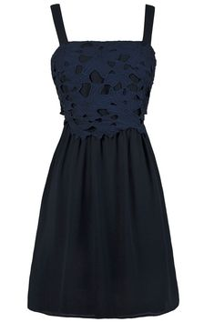 The bold floral lace at the bust of this dress and the flowy cut combine to create a chic party-perfect look. The Flowers Aflutter A-Line Dress is a Navy Lace Dress, Online Boutique Dress, Cute Navy Dress, Bridesmaid Dress. Unique Bridesmaid Dresses, Cocktail Bridesmaid Dresses, Long Cocktail Dress, Prom Dresses Blue, Cute Summer Dresses, Cute Dresses, Dresser, Affordable Dresses, Floral Lace Dress
