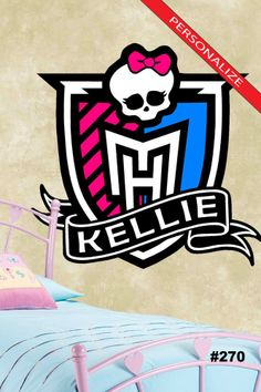 #270 Wall Art ~ MONSTER HIGH LOGO w / Personalized NAME - Quote Decal Sticker