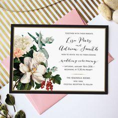 Magnolia Blush Wedding Invitation Cards, 5x7 inches, New York Modern wedding
