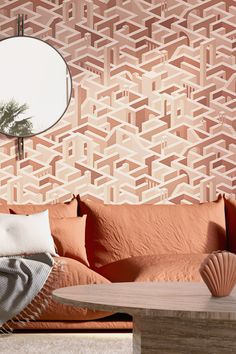 Room Wallpaper, Wallpaper Ideas, Inspiration Boards, Beautiful Interiors, Maze, Terracotta, Wall Murals, Tapestry, Living Room