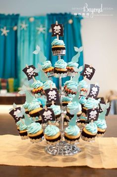 Cupcakes at a pirate & mermaid birthday party! See more party planning ideas at CatchMyParty.com!