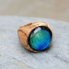Wood Ring Glass Cab Fused Dichro Wooden Jewelry Blue by Venbead