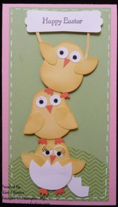 Stampin' Up! With Chicks from the owl punch Easter Projects, Easter Crafts, Easter Ideas, Owl Punch Cards, Owl Card, Diy Ostern, Greeting Cards Handmade, Handmade Easter Cards, Kids Cards