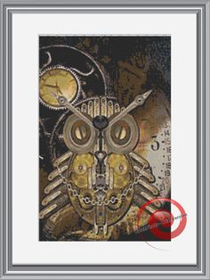 Steampunk Owl Cross Stitch Printable Needlework Pattern - DIY Crossstitch Chart, Relaxing Hobby, Instant Download PDF Design