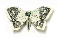 Origami tutorial on how to fold a shamrock out of Dollar Bills. An origami four leaf clover is a great money gift idea. To make this money origami cloverleaf. Folding Money, Origami Folding, Origami Paper, Origami Boxes, Paper Folding, Origami Butterfly, Origami Flowers, Origami Hearts, Butterflies
